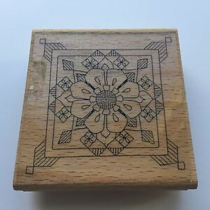 Wood Mounted Rubber Stamp - Floral Background Symmetrical Pattern 7.9cm x 8.3cm