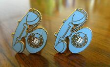 Costume Jewelry Telephone Cufflinks Unsigned Pair of Blue and Goldtone