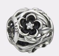 Pandora Charm Mystic Floral Clear Cubic Zirconia & Black Enamel Pandora Gift Box