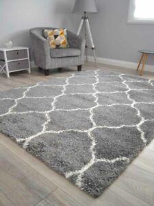 Dark Grey Cream Small Extra Large Soft Thick Trellis Shaggy Floor Mat Rugs Cheap
