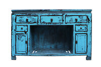 Oriental Distressed Rustic Blue Credenza Sideboard Buffet Table Cabinet cs2346