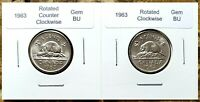 Canada 1963 Rotated Dies Set of Two Opposing Gem BU Five Cents Nickels!!