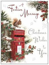 """Jonny Javelin Open Christmas Card - Red Post Box Squirrel with Glitter 7.25x5.5"""""""