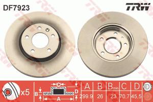 TRW Brake Rotor Front DF7923S fits Opel Astra 1.6 Turbo (PJ), 2.0 CDTI (PJ)