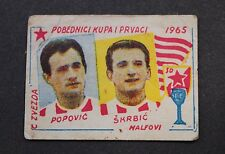 Card FOOTBALL - Popovic & Skrbic - FC RED STAR BELGRADE - YUGOSLAVIA 1965. RARE