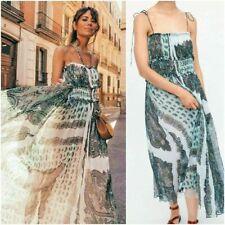 BNWT ZARA MINT GREEN PAISLEY PRINTED STRAPPY DRESS SIZE LARGE L