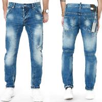 Max & Liu Herren Designer Slim Fit Jeans Hose Used Look Club Wear - ML6800