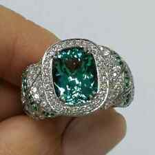 5.80Ct Emerald Cut DVVS1 Diamond Aqua Sapphire Engagement Ring White Gold Finish