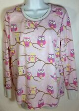 PJ Salvage Pajama Top Medium Womens Owls Vintage Velour Cozy Long Sleeve Pink