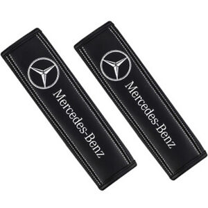 2pcs Real-Leather Car Seat Belt Covers Shoulder Pads protector For Mercedes-Benz