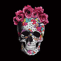 DIY Flower Skull Patches Heat Transfer Stickers Iron On Clothes Appliques Decor