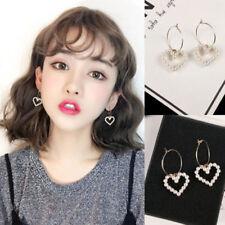Korean Women Circle Hoop Heart Pearl Drop Dangle Earrings Fashion Jewelry TR