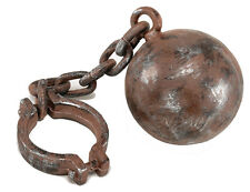 Ball and Chain Convict Ghost Scrooge Pirate Dungeon Prisoner Costume Prop New