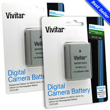 2x Vivitar EN-EL14a+ Battery for Nikon D5600 D5500 D5300 D5200 D3400 D3300 D3200
