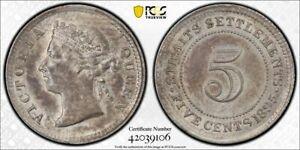 Straits Settlements QV silver 5 cents 1895 about uncirculated PCGS AU58