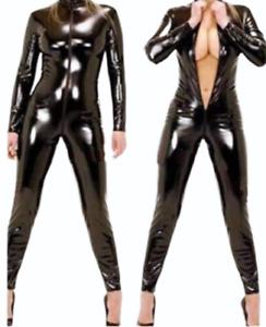 Womens Black PVC Catsuit Wetlook Full Length Bodysuit Plus Size Clubwear Party