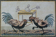 Kitchen House Decor Two Roosters Fighting Marble Mosaic An936