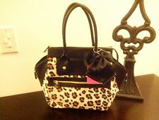 BETSEY JOHNSON *LUX LEOPARD* SMILEY HANDBAG W/BOW NWT $108