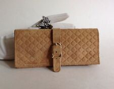 Buff Suede Leather Vintage Jewellery Roll Pouch Wrap With Matching Suede Lining