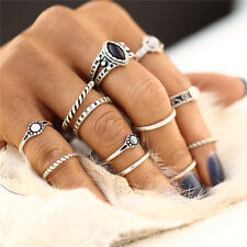 12Pcs/Set Vintage Women Gold Silver Boho Midi Finger Knuckle Rings Jewelry Gift