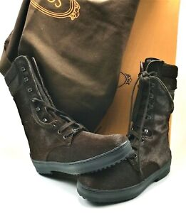 TOD'S Women's Lace Up Mid-Calf Boots in Brown Fur Non Slip Pebble Rubber US SZ 6