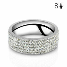 Women's Men Stainless Steel Ring Sz8-10 Unisex CZ Wedding Band Rings Gold Silver