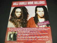 MILLI VANILLI Move Millions original 1989 PROMO POSTER AD Girl I'm Gonna Miss...