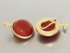 Ohrclips Gold 585 mit Karneol und Kreuz - Goldohrhänger Ohrstecker Ohrringe