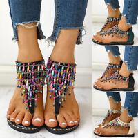 Women Summer Casual Beads Flat Shoes Ethnic Style Boho Thong Flip Flops Sandals
