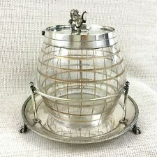 Antique Victorian Biscuit Barrel Cookie Jar Silver Plated Cut Glass Lion Shield