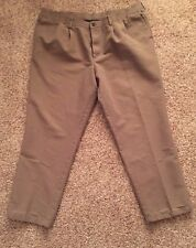 Mens Dockers Pleated Classic Individual Fit Tag-It Brown  Pants Size 44 x 32