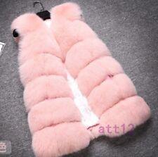 Womens Real Fox Fur Gilet Thicken Winter Warm Coat Jacket Vest Waistcoat Outwear