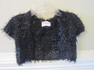 NEW Justice Sweater Sz 5 Black Fuzzy Glam Shrug