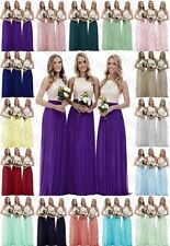 New Chiffon Evening Party Ball Gown Prom Long Top Ivory Lace Bridesmaid Dresses