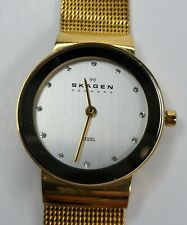 Skagen Ladies Watch Gold Tone Stainless Steel Band, Silver face w/ Crystals Slim