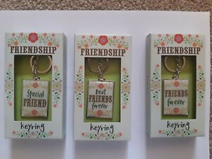 Friendship Metallic Key Ring. Great Gift For Friend. Choice of 3 Designs