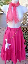 """Happy Day 50s Style Hot Pink Full Ruffled Skirt w/Wht Poodle,Silk Scarf 22""""-44""""w"""