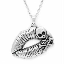 Crossbones Skull Necklace Poisonous Kiss Lips Pendant Jewelry By Controse