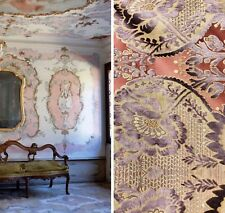 SWATCH- Italian Burnout Damask Chenille Velvet Fabric Lilac & Pink- Upholstery