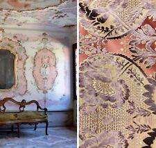Designer Italian Burnout Damask Chenille Velvet Fabric Lilac & Pink- Upholstery