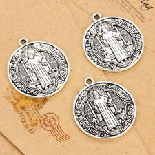 5Pcs Tibetan Silver Tone Jesus Cross Round Charms Pendants DIY Jewelry 35*31mm