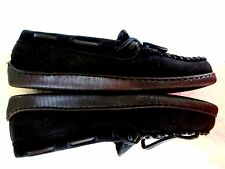 MINNETONKA Cally 5M Black Suede Indoor Outdoor Hard Sole MOCCASIN SLIPPER SHOES