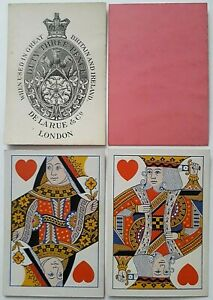 ANTIQUE PLAYING CARDS DE LA RUE 1865 SQUARE HAND CUT WIDE 52 DECK TURNED COURTS