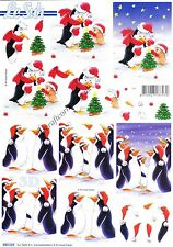 Christmas Penguins 3D Die Cut Decoupage Sheet Card Making Craft NO CUTTING REQ