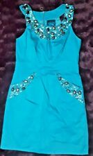 BUTTERFLY by MATTHEW WILLIAMSON - TURQUOISE BEADED STRETCH COTTON DRESS 12