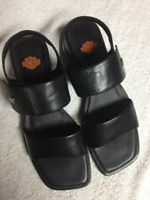 Harley-Davidson Black Leather Ankle Straps Casual Sandals Shoes Size Sz 9 Med a