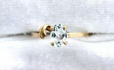 10Kt REAL Yellow Gold 7x5 Oval Light Blue Aquamarine Gem Gemstone Ring Size 6