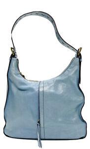 HOBO International Marley Shoulder Bag Light Blue Glossy Leather