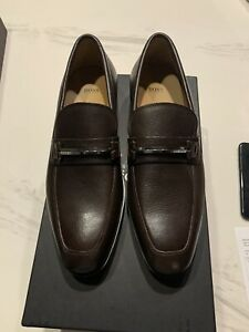New Auth Hugo Boss Portland Men Leather Brown Loafer Driver Moccasin 12 $395