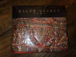 NEW  VINTAGE RALPH LAUREN GALAHAD Red Sateen Floral Flat Sheet - SEALED RARE